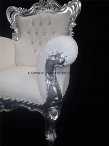 A A ANTIQUED SILVER LEAF LOUIS HUGE ARM CHAIR SHOP HOME DIVA SHOWN IN SOFT WHITE FAUX LEATHER WITH CRYSTAL BUTTONS