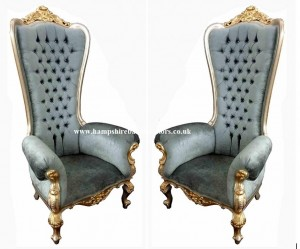 Large ornate throne chair carved from mahogany and finished in gold leaf. Perfect for home, weddings, events and hotel use.Diamond crystal buttons