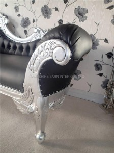Large Silver Hampshire Chaise with silve leaf frame and black faux leather with crystals.2