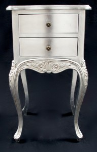 Silver leaf lamp table or bedside cabinet