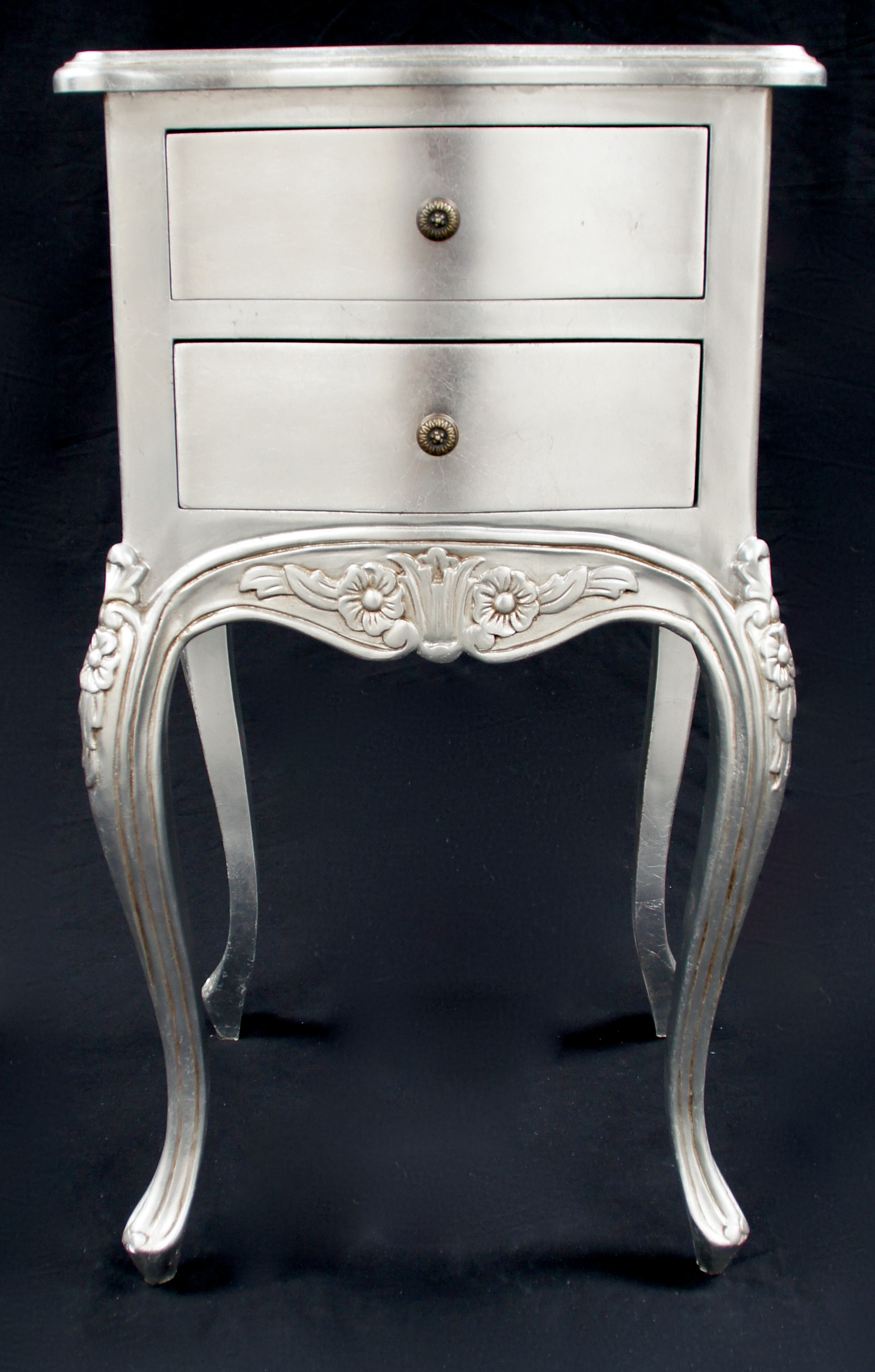 A Beautiful Parisian Ornate Two Drawer Lamp Side Table Or Bedside Cabinet  Shown In SILVER LEAF