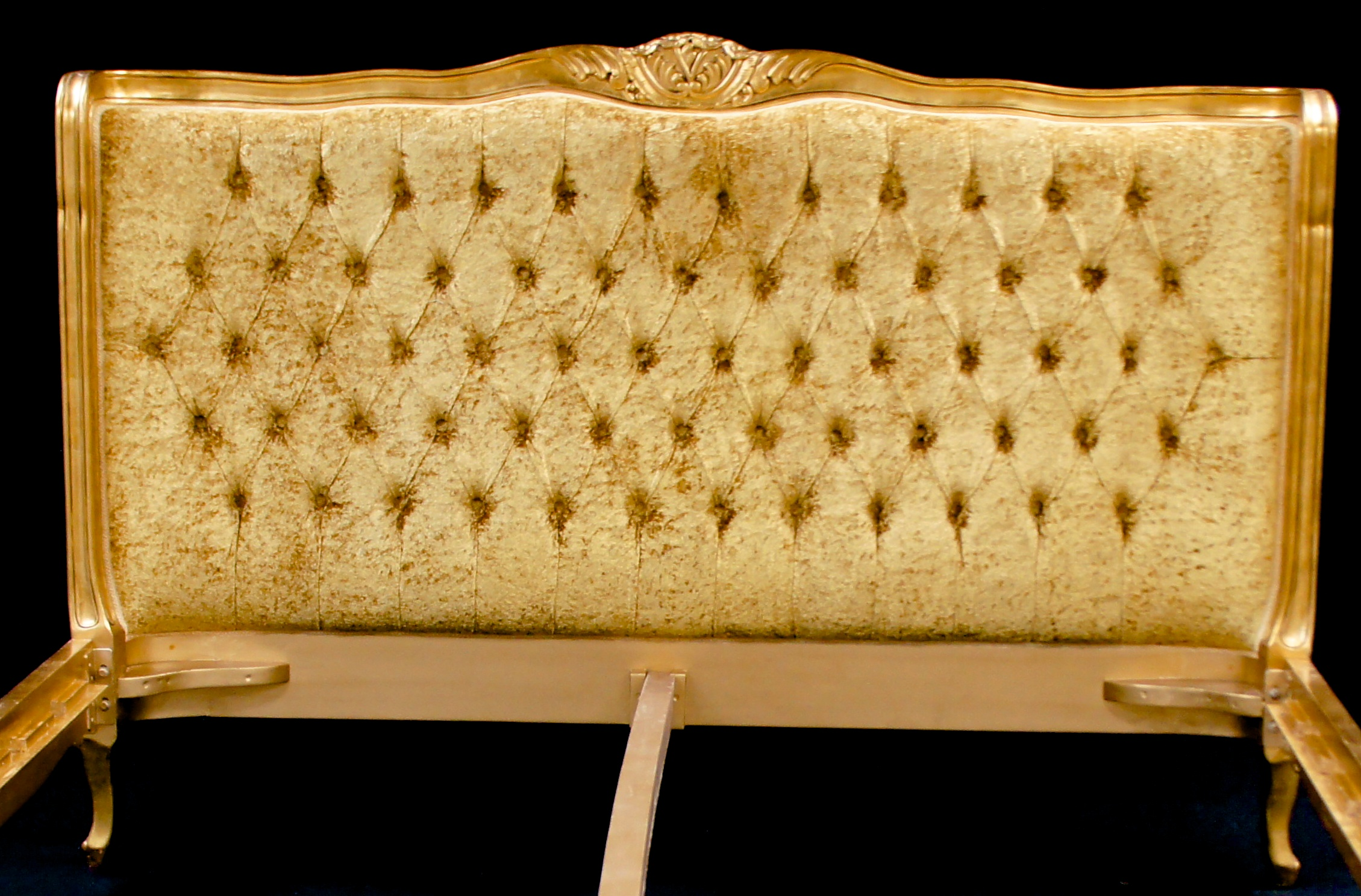 A French Louis Versailles Style Bed Shown In Gold Leaf
