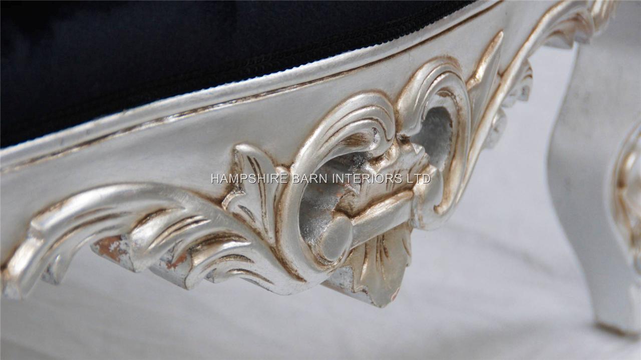 A A Black Velvet Rococo Silver Leaf Louis Huge Arm Chair