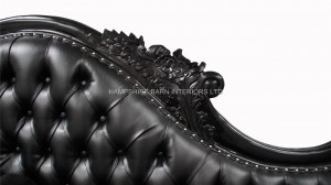 large ornate french chaise longue black painted black faux leather. 3