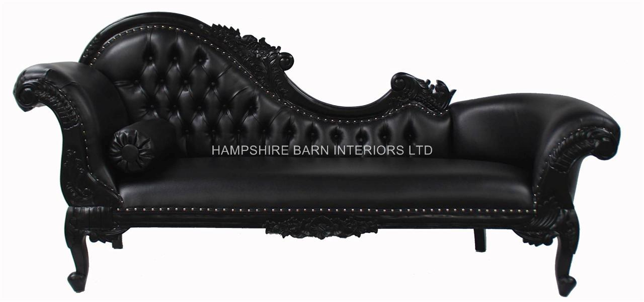 Black large chaise faux leather hampshire barn interiors for Black leather chaise longue