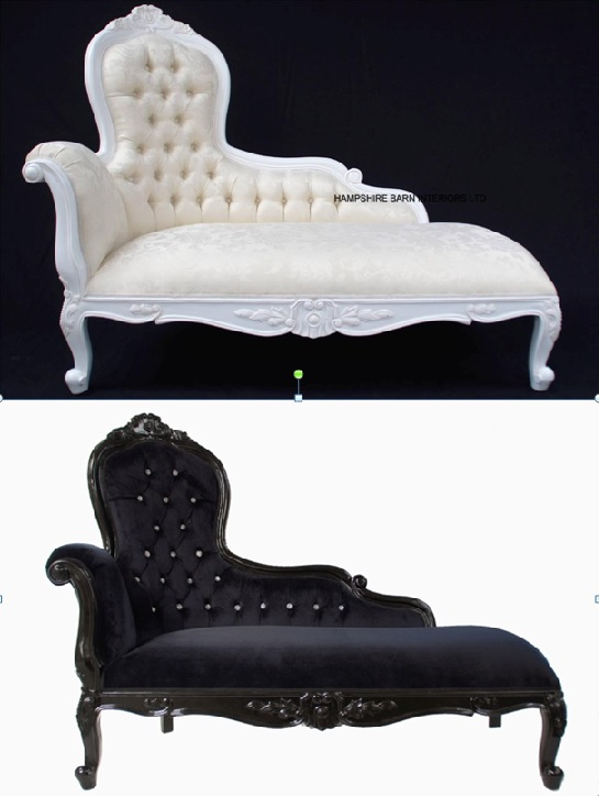 An Elegance Designers Chaise Longue ..ORNATE available in WHITE or BLACK
