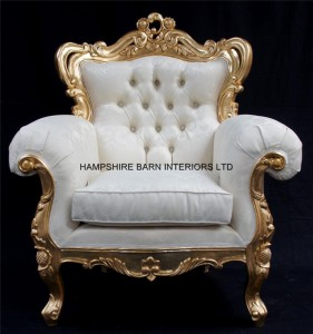 large louis armchair gold and ivory cream damask