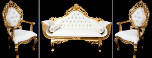 Royal palace wedding set gold and ivory cream one sofa and two thrones all highly carved from mahogany