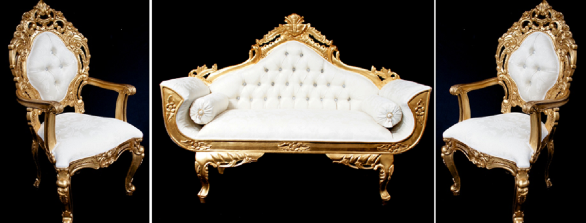 A A ORNATE PALACE WEDDING SET (ONE SOFA AND TWO WEDDING THRONE CHAIRS ) IN  GOLD LEAF FRAME AND IVORY CREAM FABRIC WITH CRYSTAL BUTTONS