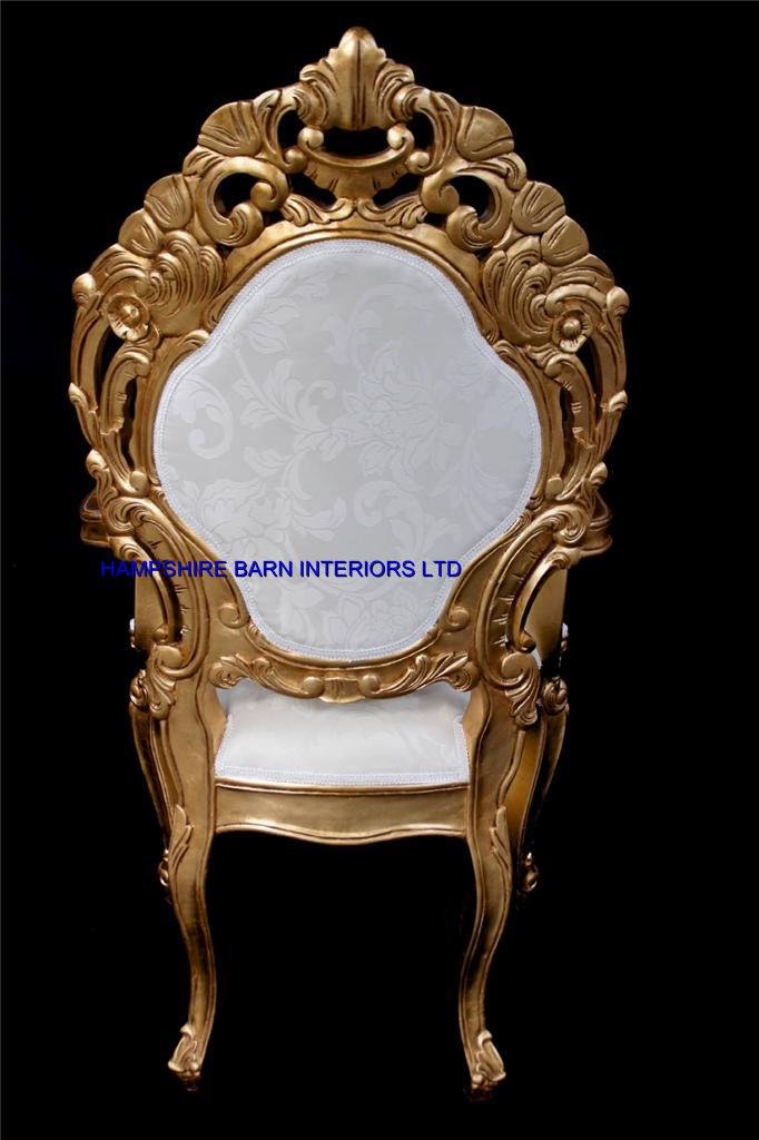 A A Ornate Royal Palace Throne Chair In Gold Leaf Frame