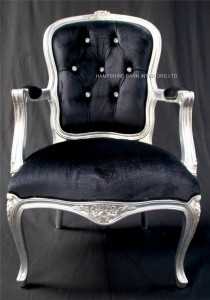 CHESHIRE SILVER AND BLACK VELVET ORNATE CHAIR WITH CRYSTALS