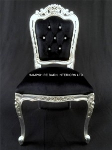 Franciscan Chair in Silver Leaf , Black Velvet and Crystals (dining or occasional)