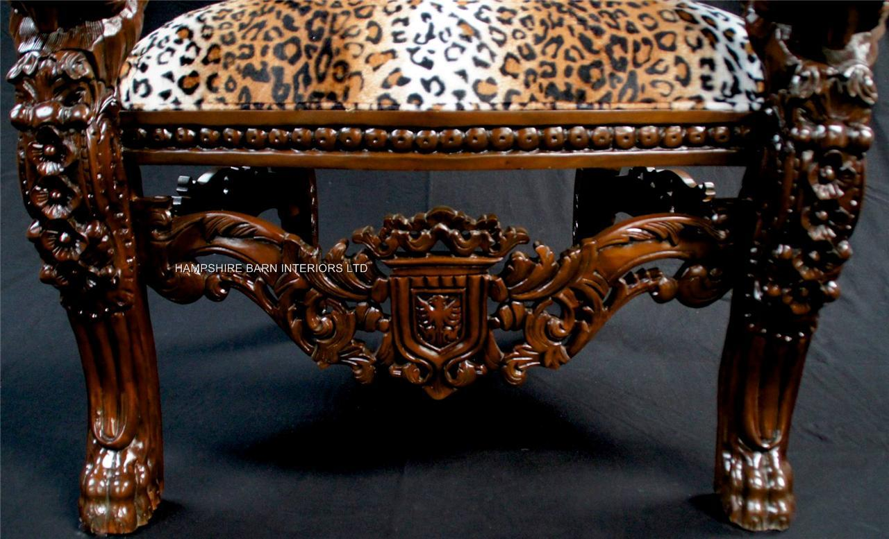 Aa Mahogany Lion King Throne Chair With Leopard Animal