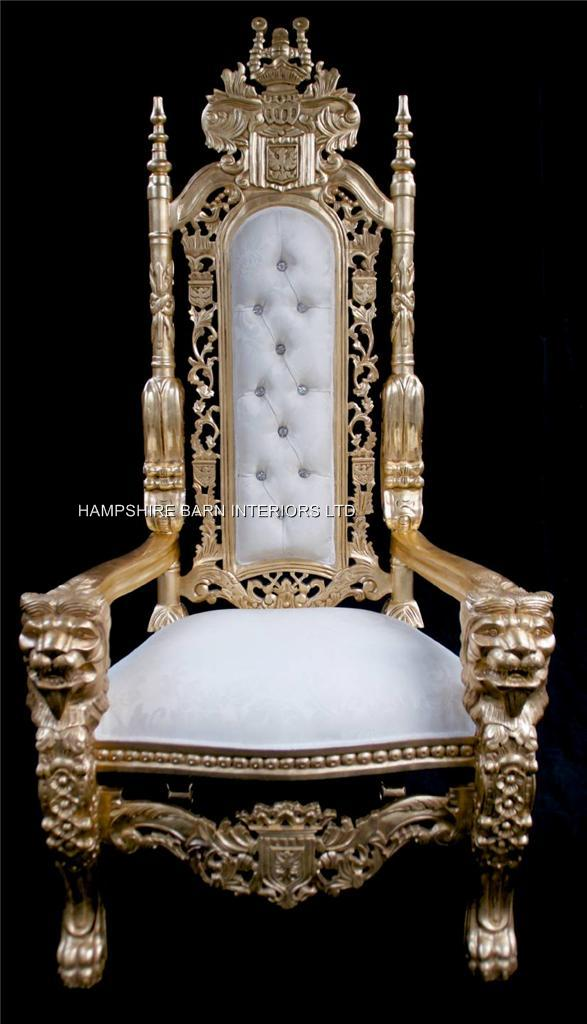 Aa Gold Lion King Throne Chair W Ivory Cream Damask Fabric