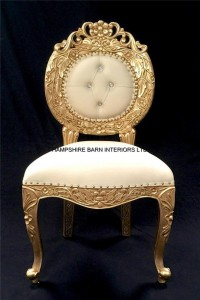 avalon chair gold and cream faux leather