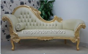 medium ornate gold leaf chaise with cream faux leather