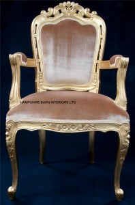 Franciscan Chair in Gilded Gold and Gold Velvet  (dining or occasional) with arms