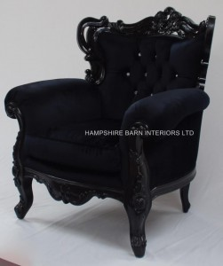 BLACK VELVET AND BLACK GLOSS HUGE ROCOCO ARM CHAIR WITH CRYSTALS