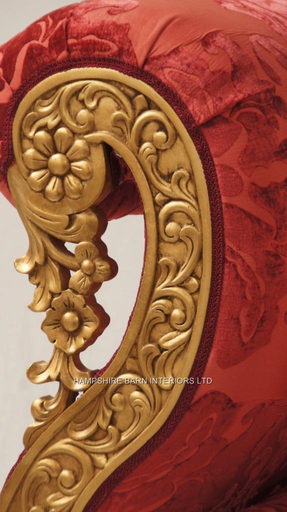 A A Regent Ornate Gold Leaf Sofa Gold Leaf With Coral Reds