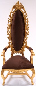 A TALL ELEGANT MILAN THRONE HALL CHAIR FEATURE GOLD LEAF CHOCOLATE BROWN VELVET FABRIC ORNATE