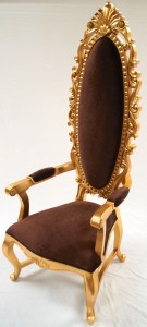 A TALL ELEGANT MILAN THRONE HALL CHAIR FEATURE GOLD LEAF CHOCOLATE BROWN ORNATE