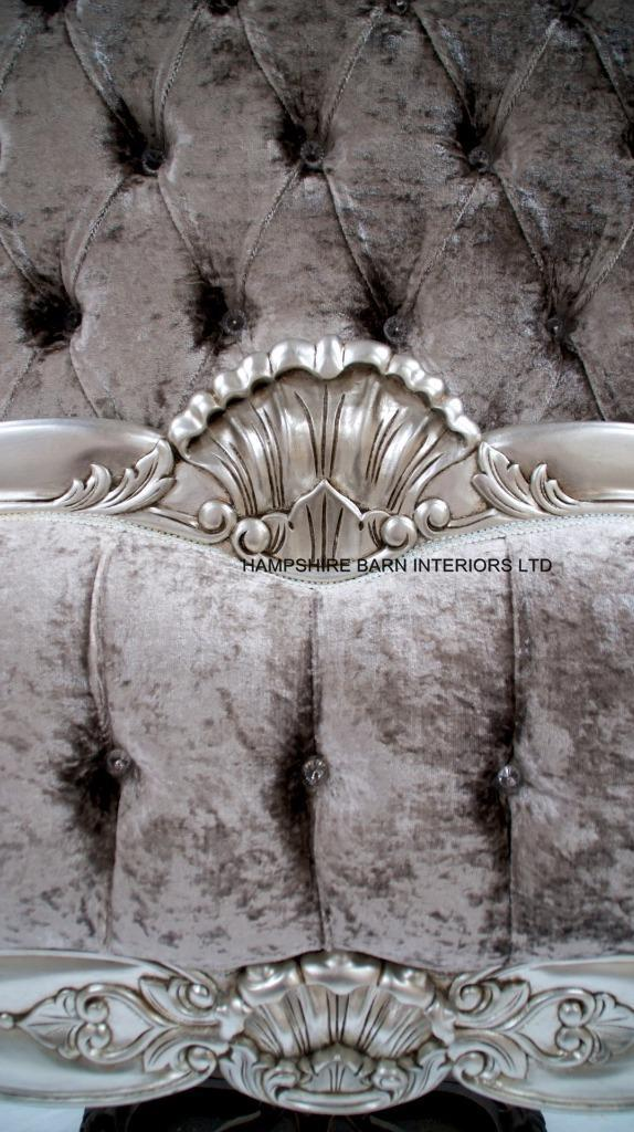 A Cannes French Style Ornate Bed Frame In Silver Leaf With