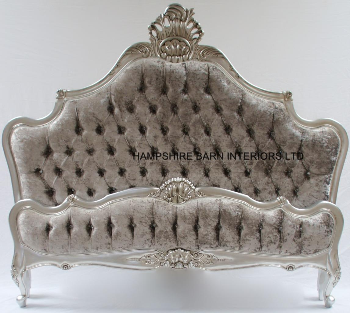 A Cannes French Style Ornate Bed Frame In Silver Leaf With Silver