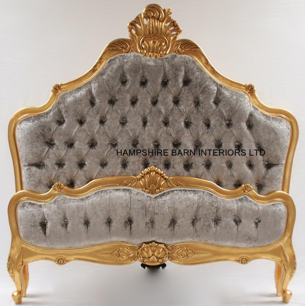 A Cannes French Style Ornate Bed In Gold Leaf With Silver Mercury