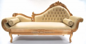 A 1 AMBERLEY CHAISE IN GOLD LEAF AND CREAM FAUX LEATHER WITH CRYSTALS