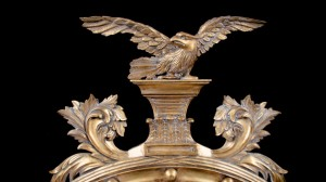 A A AMERICAN EAGLE HUGE WALL MIRROR GOLD WITH BEVELLED MIRROR