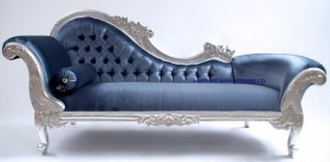 A 3 Beautiful Silver Leaf Ornate Platinum Chaise with AZURE GREY VELVET