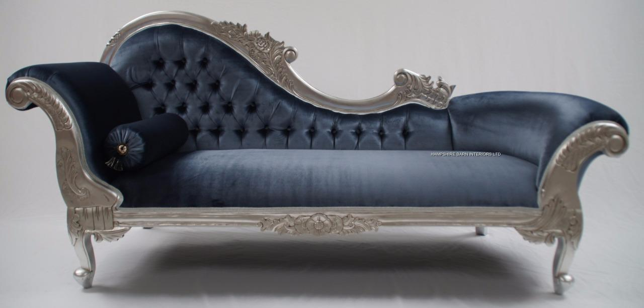 Picture of: 11a Large Hampshire Chaise With Silver Leaf Frame With Azure Grey Velvet Hampshire Barn Interiors