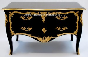 A BLACK DUBOY BAROQUE FABULOUS FRENCH REPRODUCTION LOUIS XVI ROCOCO COMMODE