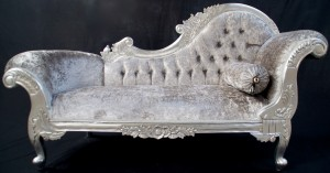 medium chaise silver leaf w grey velvey
