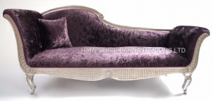 large ornate silver purple chaise longue