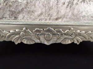 silver leaf chaise mercury grey crushed velvet