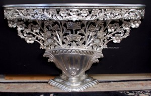 DESIGNERS BOUQUET DE FLEUR SILVER LEAF HALL CONSOLE TABLE FLOWER CARVED MAHOGANY