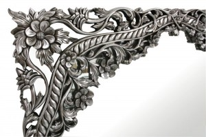 mirror  DESIGNERS BOUQUET DE FLEUR SILVER LEAF HALL CONSOLE TABLE FLOWER CARVED MAHOGANY