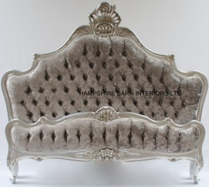 A-CANNES-ORNATE-BED-IN-SILVER-LEAF-WITH-SILVER-MERCURY-CRUSHED-VELVET-AND-CRYSTAL-BUTTONS