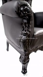1 TALL ABSOLEM THRONE BLACK FAUX LEATHER CRYSTALS
