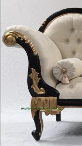 2BLACK AND GOLD FRAME CHAISE LONGUE WITH IVORY CREAM FABRIC