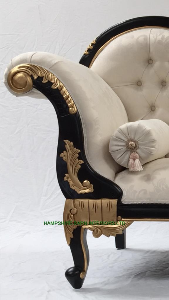 1 beautiful chaise black gold frame with ivory cream for Chaise longue frame