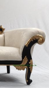 3BLACK AND GOLD FRAME CHAISE LONGUE WITH IVORY CREAM FABRIC