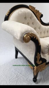 6BLACK AND GOLD FRAME CHAISE LONGUE WITH IVORY CREAM FABRIC