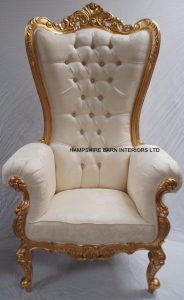 7 huge tall absolem throne chiar in gold with ivory cream fabric