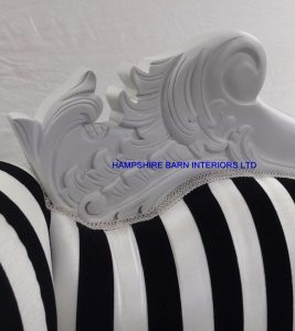 Hampshire medium chaise longue with white frame and black and white stripe fabric
