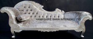 LARGE SILVER LEAF CHAISE LONGUE WITH MERCURY GREY CRUSHED VELVET CRYSTALS