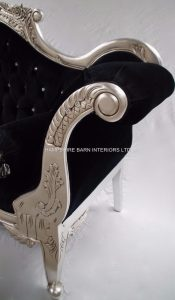 ANTIQUED SILVER WEDDING SOFA WITH BALCK VELVET AND CRYSTAL BUTTONS