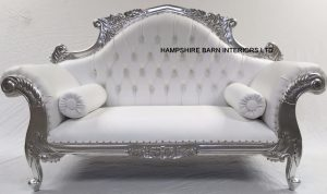 A 1 CHARLES LOUIS CUDDLER LOVE SEAT CHAISE SOFA in SILVER LEAF frame with WHITE FAUX LEATHER