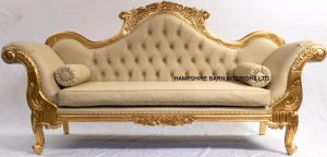 A1 Wedding Sofa in Gold Leaf Frame with easiclean Faux Leather